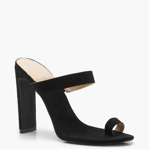 Boohoo Womens Harriet Toe Post Mule Heels in Black